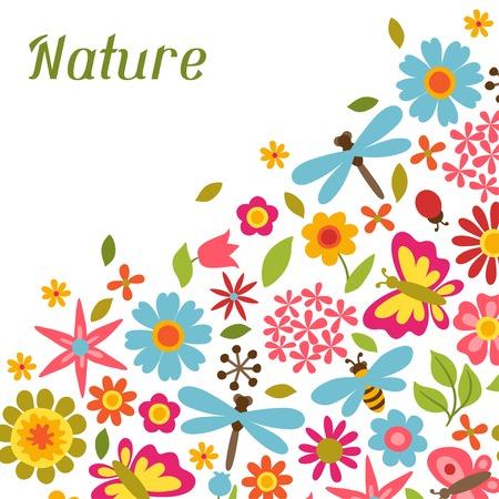 flores de cumplea�os: Tarjeta natural con hermosas flores, escarabajos y mariposas.