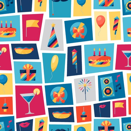 hot background: Celebration seamless pattern with party icons and objects.
