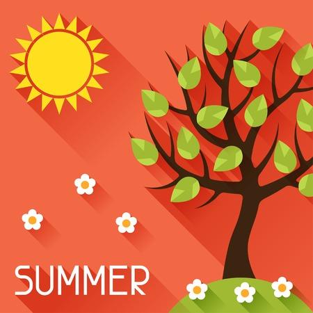 june: Seasonal illustration with summer tree in flat style. Illustration