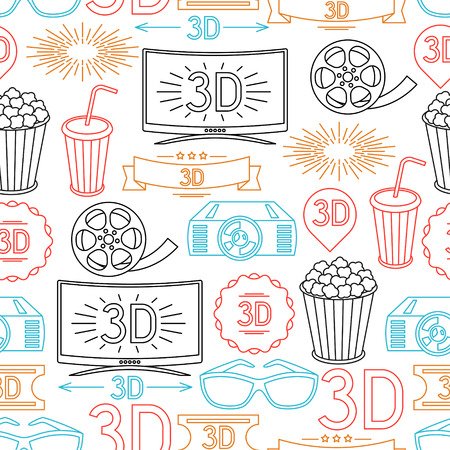 cinema screen: Seamless pattern of movie elements and cinema icons