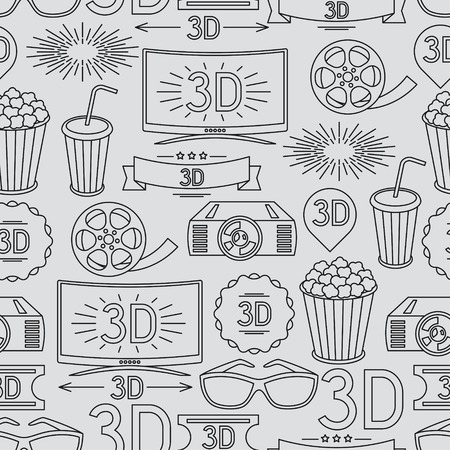 movie popcorn: Seamless pattern of movie elements and cinema icons