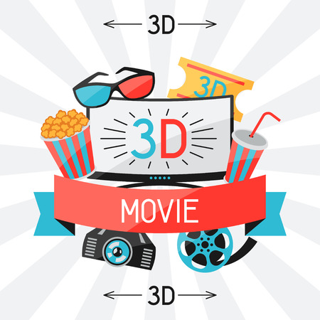 cinema screen: Background of movie elements and cinema icons Illustration