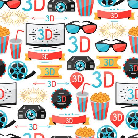 cine: Seamless pattern of film and cinema icons Illustration