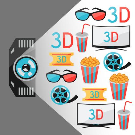 cine: Background of movie elements and cinema icons Illustration
