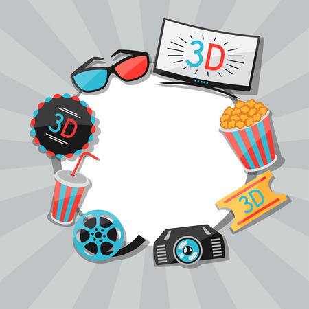 cinema background: Background of movie elements and cinema icons Illustration