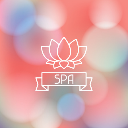 Spa wellness label on blurred background Illustration