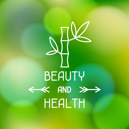 woman in spa: Spa beauty and health label on blurred background