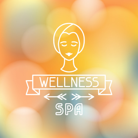 spa relax: Spa wellness label on blurred background Illustration