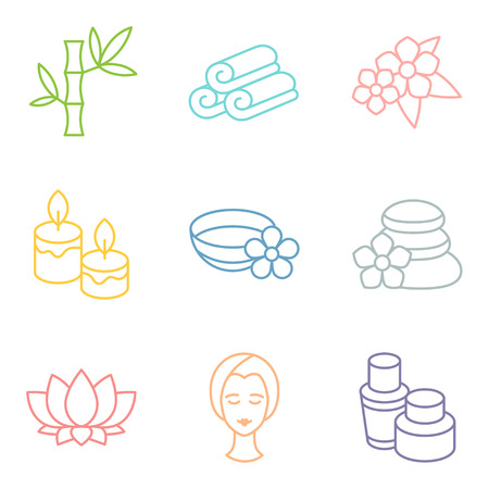 recreation: Set of spa and recreation icons in linear style Illustration