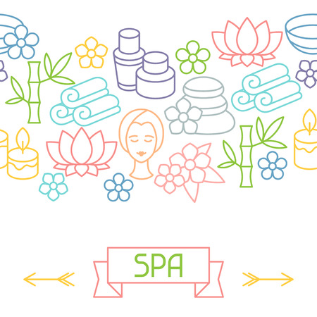 recreation: Spa and recreation seamless pattern with icons in linear style Illustration