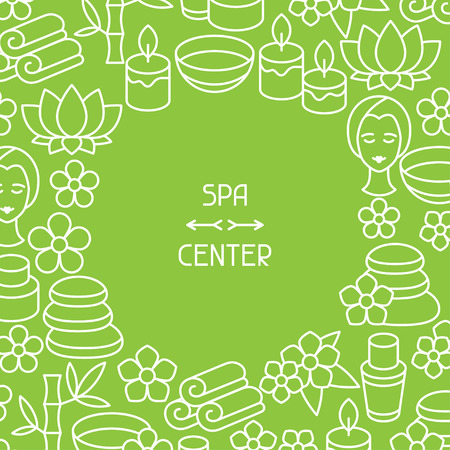 facial massage: Spa and recreation background with icons in linear style Illustration