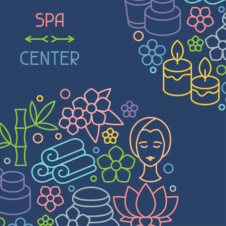 recreation: Spa and recreation background with icons in linear style Illustration
