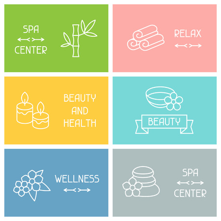 Spa and recreation business cards with icons in linear style Vector