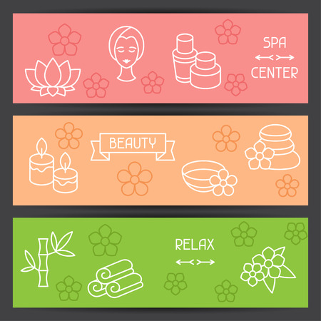 recreation: Spa and recreation banners with icons in linear style Illustration