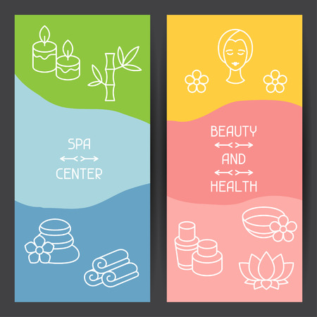 Spa and recreation banners with icons in linear style