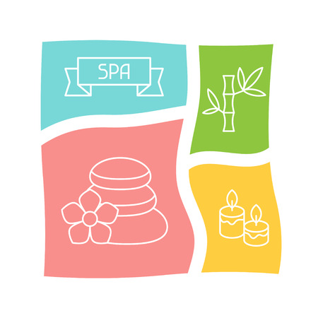 Spa and recreation background with icons in linear style Vector