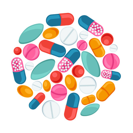 Medical background design with pills and capsules