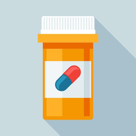 bouteille de pilules avec différentes pilules et capsules