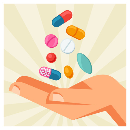 fall protection: Illustration of hand holding various pills and capsules