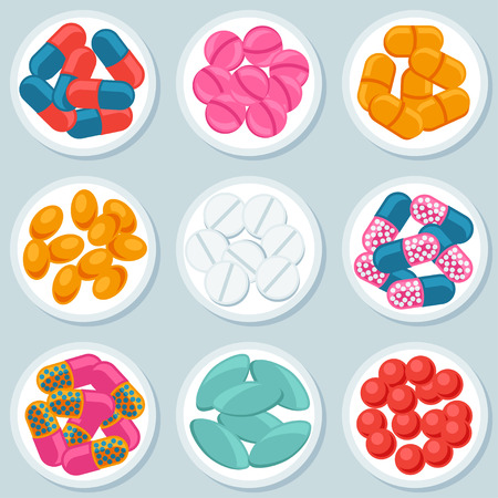 assortment: Assortment of pills and capsules in container Illustration