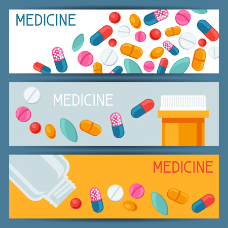capsules: Medical banners design with pills and capsules
