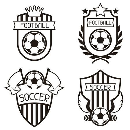 campeonato de futbol: Conjunto de etiquetas deportivos con símbolos de fútbol soccer.
