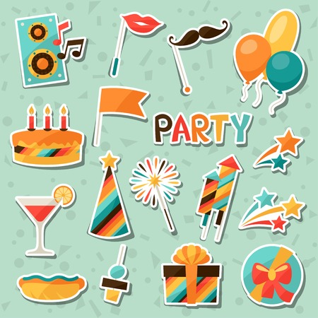 celebration party: Celebration set of party sticker icons and objects.