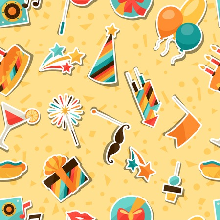 celebration party: Celebration seamless pattern with party sticker icons and objects. Illustration