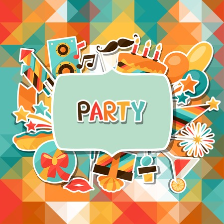 party streamers: Celebration background with party sticker icons and objects. Illustration