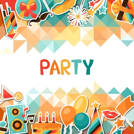 Celebration background with party sticker icons and objects. Illustration
