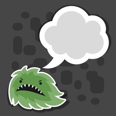Background with little angry virus or monster. Vector