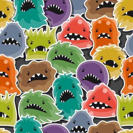 bacteria microscope: Seamless pattern with little angry viruses and monsters.
