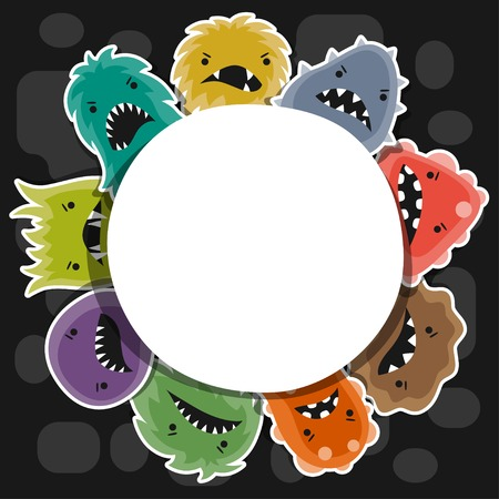 Background with little angry viruses and monsters. Vector