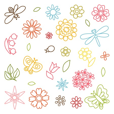 Natural set of beautiful flowers, beetles and butterflies. Vector