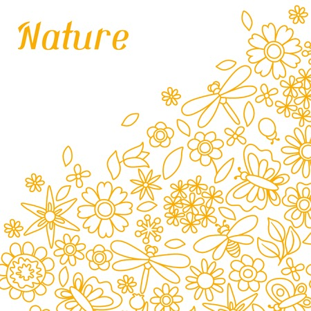 Natural card with beautiful flowers, beetles and butterflies. Vector