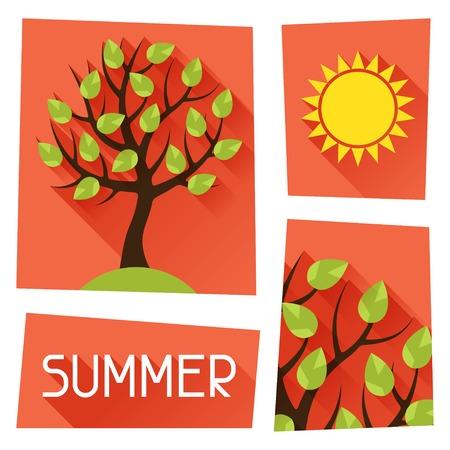 seasonal: Seasonal illustration with summer tree in flat style. Illustration