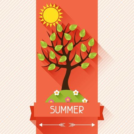 ribon: Seasonal illustration with summer tree in flat style. Illustration