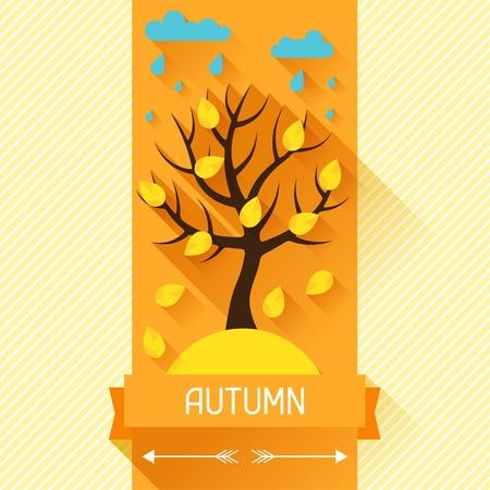 ribon: Seasonal illustration with autumn tree in flat style.