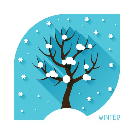 seasonal: Seasonal illustration with winter tree in flat style. Illustration