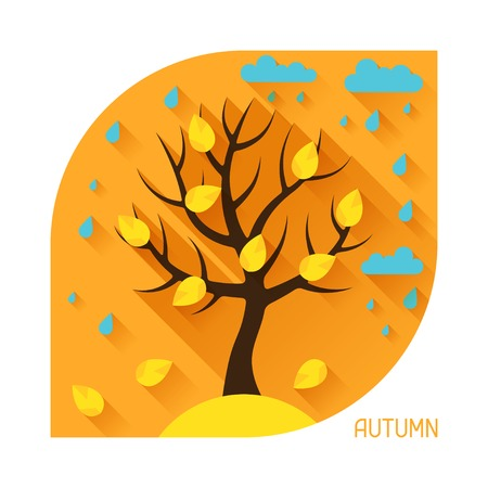 forest wood: Seasonal illustration with autumn tree in flat style.