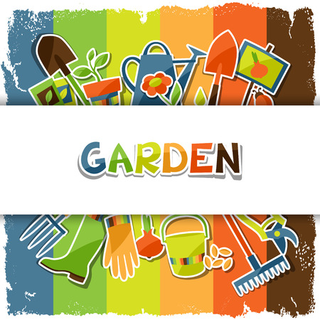 regando el jardin: Fondo con los elementos e iconos del dise�o de la etiqueta engomada de jard�n Vectores
