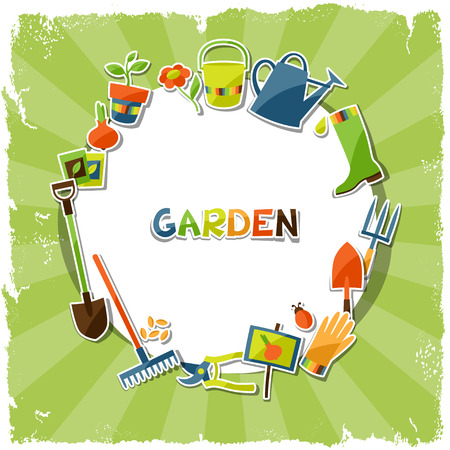 Background with garden sticker design elements and icons Reklamní fotografie - 37823510