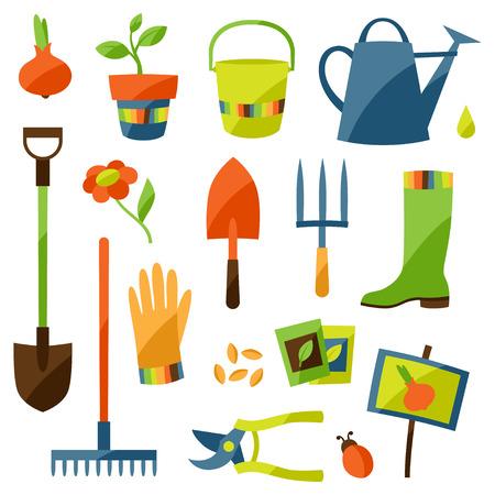 tuinontwerp: Set of garden design elements and icons