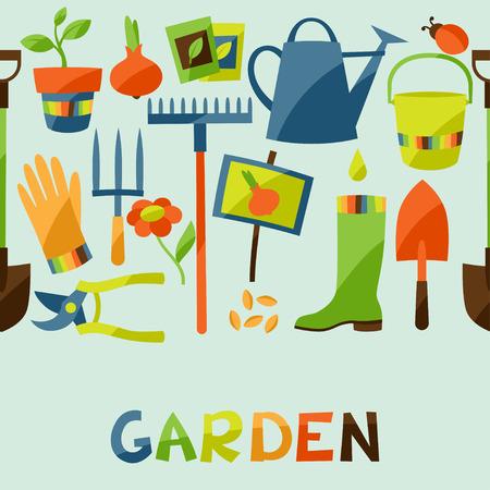 tuinontwerp: Naadloze patroon met tuin design elementen en pictogrammen