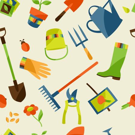 garden design: Seamless pattern con elementi di design giardino e le icone Vettoriali