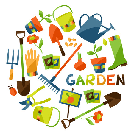 Background with garden design elements and icons Vettoriali