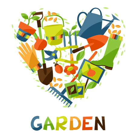 Background with garden design elements and icons Vectores