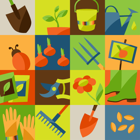 shovels: Background with garden design elements and icons Illustration