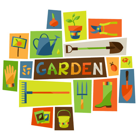 Background with garden design elements and icons Stock Illustratie