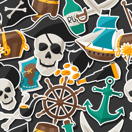Seamless pattern on pirate theme with stickers and objects Vector